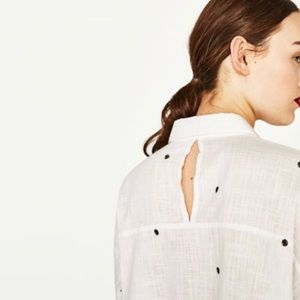 Button up linen shirt with embroidery detail